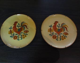 1960,s Smith and Taylor Rooster plates w/ hangers