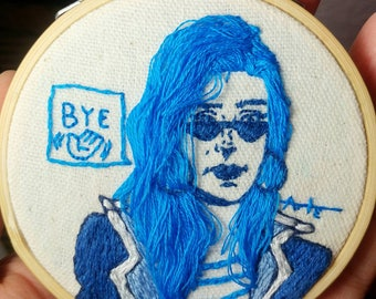 Bye, 3 inch Hand Embroidery