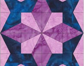 Petal Star 15 Inch Block Paper Template Quilting Block Pattern PDF