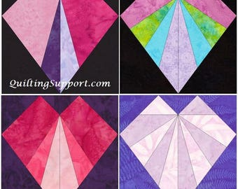 10 Inch Heart Set 1 Paper Foundation Piecing Quilting 4 Block Patterns PDF