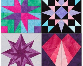 Exciting Blocks Set 1 - 15 Inch Block Set of 4 Paper Piece Template Quilting Block Patterns PDF