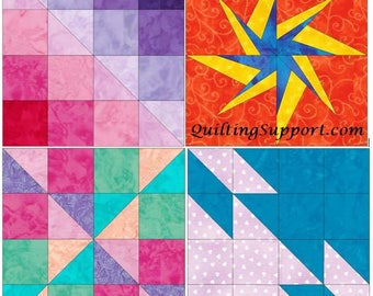 Exciting Blocks Set 2 - 15 Inch Block Set of 4 Paper Piece Template Quilting Block Patterns PDF
