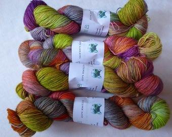 Autumn Mist, Hand Dyed Yarn, Sock Yarn, Hand Dyed Sock Yarn, Merino Superwash, 4 ply, 100gm, Grey, Green, Orange, Pink