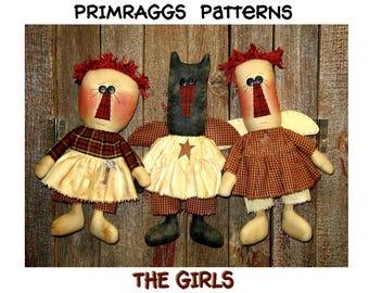 Primitive PATTERN Raggedy Ann, Kitty Cat, Rag Doll Angel - The Girls -  Primraggs - instant download