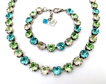 Bora Bora Collection • Swarovski Crystal Necklace • Turquoise Blue, Peridot Green