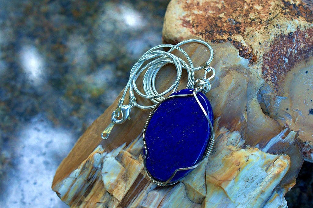 Royal blue oval shape Lapis Lazuri pendant silver wire wrapped with ...