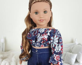 18 inch doll peasant blouse and jeans | floral crop top | studded jeans