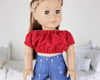 18 inch doll short & peasant blouse | denim shorts | red polka-dot crop top