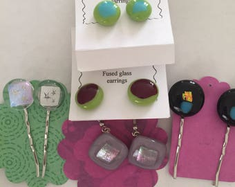 Fused glass set of hair and earring sell off. All 5 included for one low price.