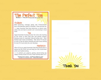 Rodan and Fields Foaming Sunless Tan Instructions thank you cards -Sunless tanner thanks - R+F  - RF tan directions - digital printable file