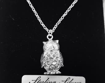 Latticed owl pendant