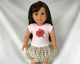 Rose T-Shirt and Rose Print Skirt for American Girl/18 Inch Doll