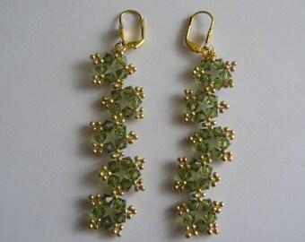 Earrings 5 khaki and gold stars