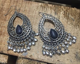 Silver dangle beaded earrings