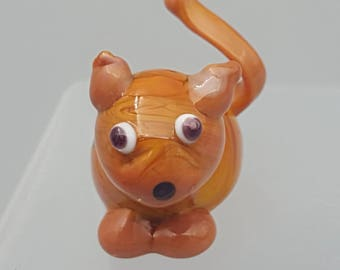 Ginger - the stripped tabby, glass cat , mini glass figure, fun accent, collectable glass