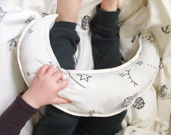 Moon Pillow, White Pillow / Gray Pillow, Kids Room Decor, Decorative Pillow, Children's Pillow, Kids Pillow, Baby Pillow, Baby Bedding