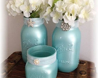 Vintage Blue Mason Jars for Rustic or Beach Weddings Rehearsal/Engagement Parties and Bridal Showers - Wedding Guest Table Decor
