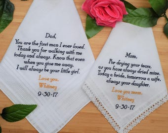 Custom Handkerchiefs  Set of two Handkerchiefs. Father and Mother of the Bride Hankies. Embroidered handkerchiefs. Wedding gifts for Parents