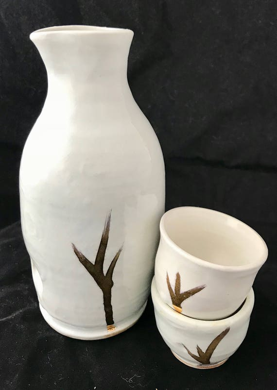 Salt Fired gold lustered Sake Set