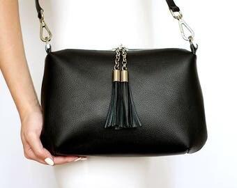 Free shipping! Black leather bag, black bag, leather shoulder bag, black crossbody, black leather purse, black sholder bag, black tassel bag