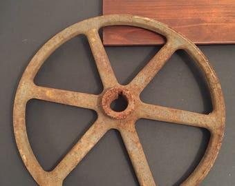 "SALE Vintage Rusty Pulley Wheel 11"" dia"