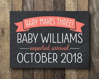 Printable Pregnancy Announcement - Printable Baby Announcement - Chalkboard Pregnancy Sign - Pregnancy Reveal - Baby Makes Three