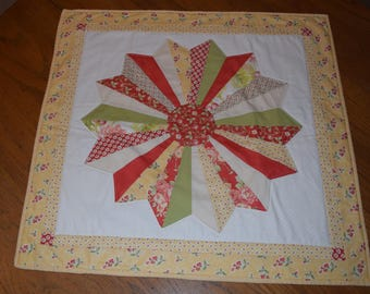 """Quilted  Dresden Plate Table Topper  25"""" sq"""