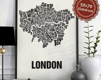 London Typographic Map Screen Print