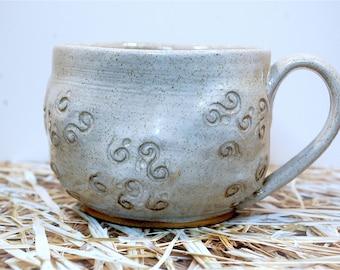 Handmade sheep style mug creme rustic pottery, hand shaped and textured - ready to ship