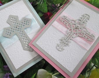 Christening (Baptism) bifold invitation with die cut cross with rhinestone and satin ribbon embossed handmade baby religious