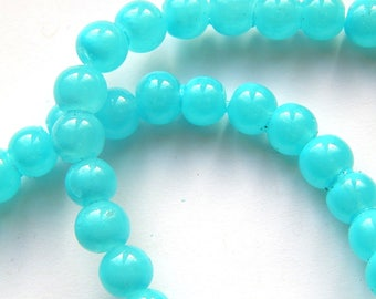 x 20 round 6 mm turquoise glass beads