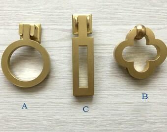 Drop Ring Pull Cabinet Door Knob Pulls Handle Brushed Brass