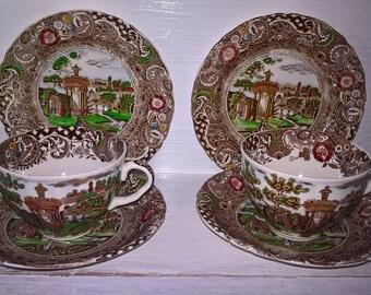 Vintage Trio x 1  WR Midwinter Landscape Burslem England Circa 1910-19-30 Antique Brown Transfareware Plate Saucer Cup Afternoon Tea Room