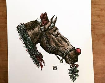 KillerBeeMoto: Original Pen Sketch of Christmas Horse