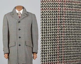 SALE Small Mens 1970s Tweed Car Coat 70s Tweed Coat Windowpane Plaid Winter Coat Vintage Man Coat Mod Wool Coat Red Black White
