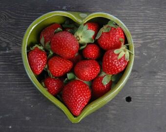 Heart pottery bowl, heart shaped ceramic bowl. heart bowl, green ceramic heart bowl, wedding bowl