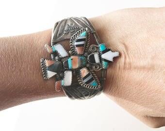 Vintage Zuni cuff. Eagle dancer cuff. Native American bracelet. Vintage Native American cuff. Vintage Zuni jewelry.