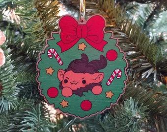 Kawaii Krampus Wooden Christmas Tree Ornament