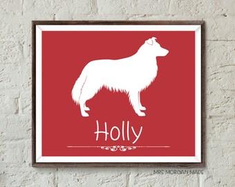 Border Collie personalized pet gift, rough border collie, dog memorial, dog lover, silhouette of dog, custom dog gift. MrsMorgan-Dog:BRC01