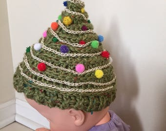 Christmas Tree Hat, Crochet Baby Hat, Soft Newborn Hat, Infant Cap, Photo Prop, Decorated Hat, New aby Gift, Novelty Hat