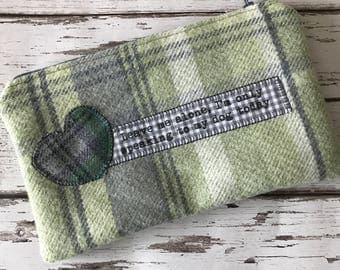 """dog lovers zippered purse/pouch. Green and grey tartan wool """" leave me alone, i am only speaking to my dog today"""""""