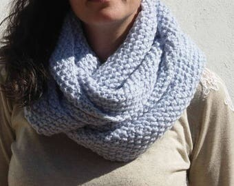 Snood double rounds woman blue alpaca and wool