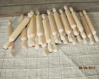 "22 Unfinished Wood Miniature 5"" Rolling Pins Dollhouse Miniatures Crafts Kitchen Food Cooking"