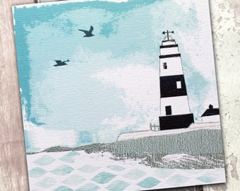 Blue Lighthouse Card - Seaside Blank Card - Nautical Stationery - Coastal Blank Card - White Lighthouse Card - Beach Card