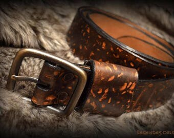 """Stonehenge"" leather strap belt"
