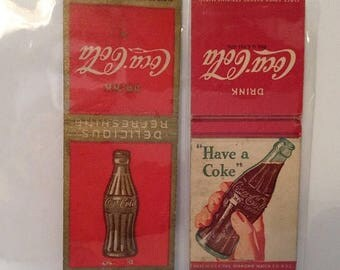 ON SALE Two Coca Cola Coke Matchbook Covers