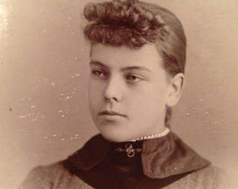 ON SALE 1800's Scandia Kansas KS Antique Cabinet Card Photograph Photo Portrait of a Pretty Young Woman Old Vintage