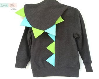 3T Gray Dinosaur Hoodie with Aqua and Green Spikes