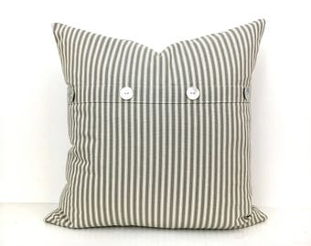 Striped Pillow Cover with Buttons