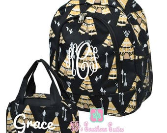 Kid Personalized Backpack and Lunch bag Monogrammed Teepee Backpack and Lunchbox Girl Monogrammed Backpack and Lunchbox